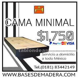 Cama estilo minimal 100% madera de pino en queretaro por basesdemadera.com
