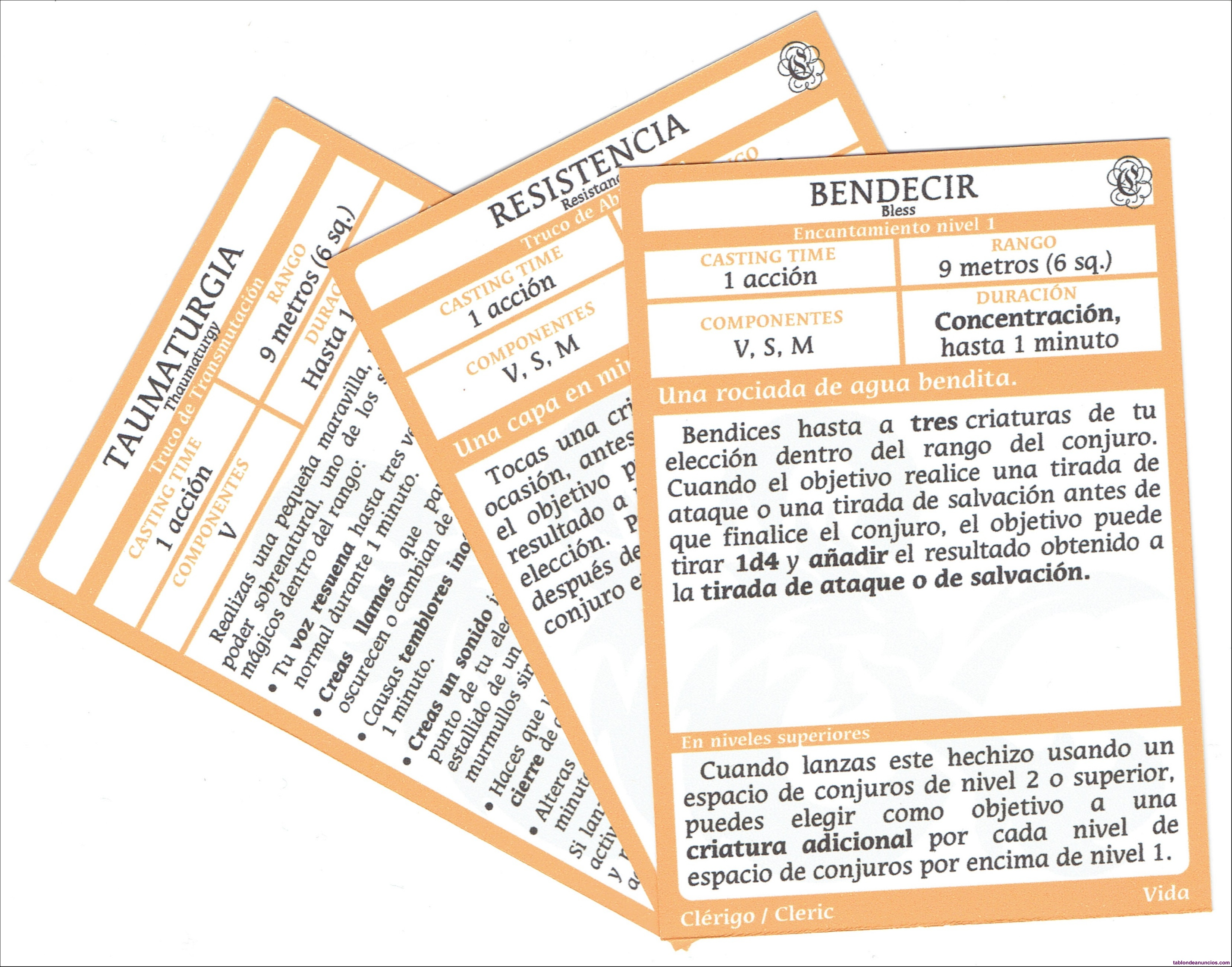 Dungeons and dragons spellbook cards cleric español d&d